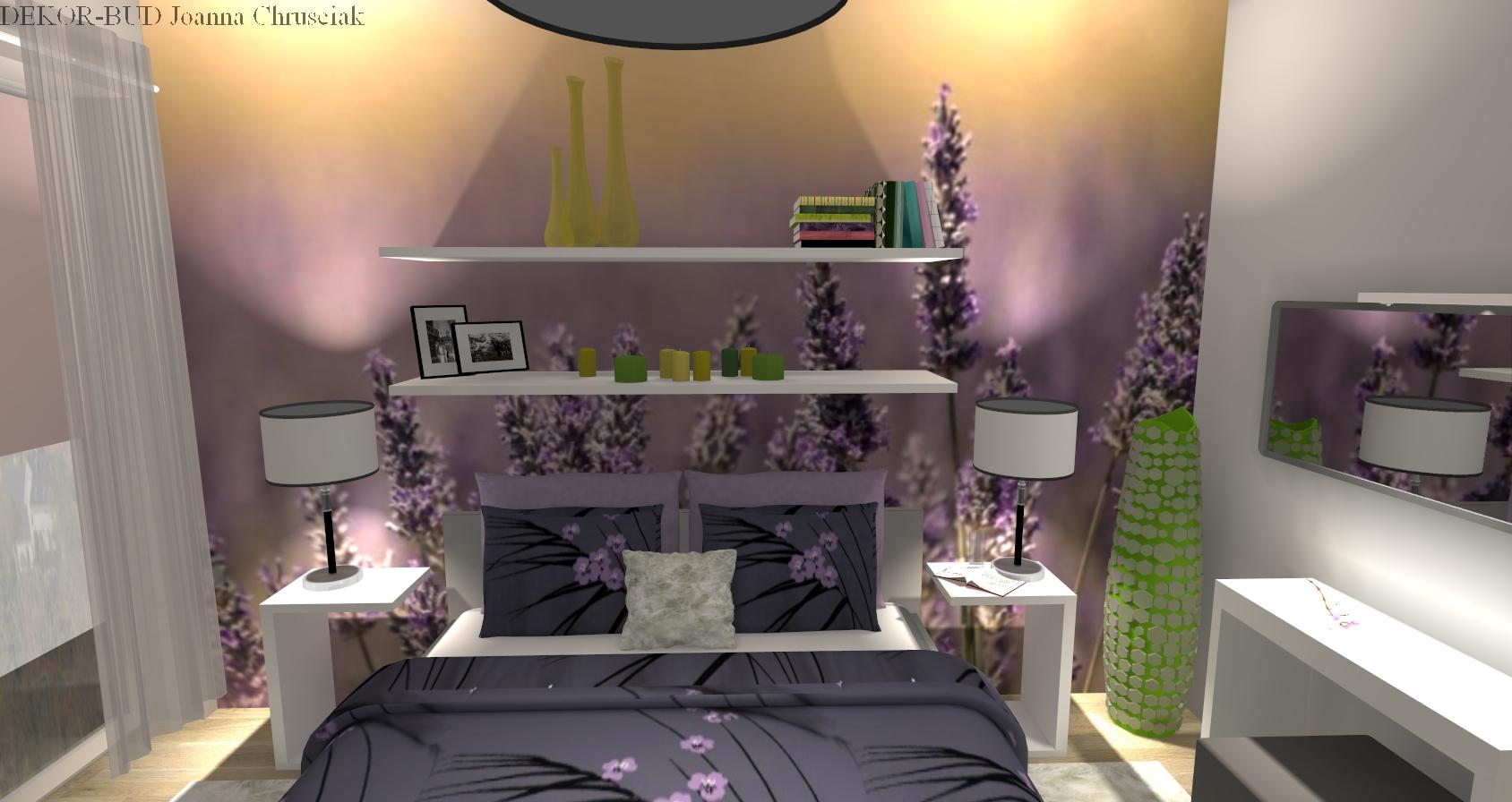 sypialnia z tapet� w fiolecie vol2