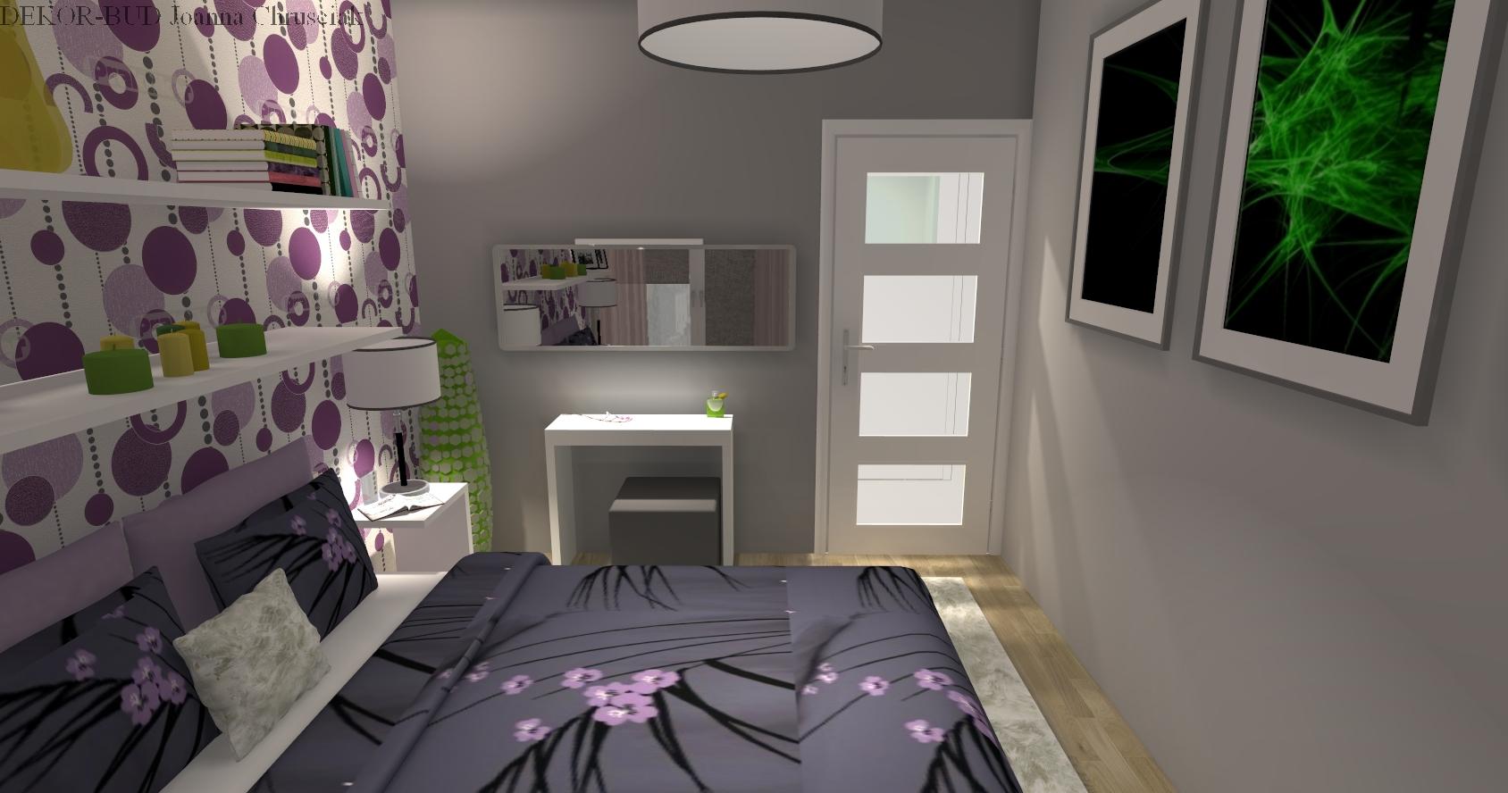sypialnia z tapet� w fiolecie